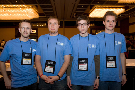 ACM/ICPC World Finals - Dominik Hurnaus (coach), Christian Wirth, Thomas Würthinger, and Roland Schatz (from left to right)